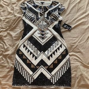 White with gold and black sequins dress Never worn
